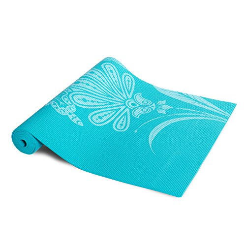 Tone Fitness Yoga Mat with Floral Pattern, Teal (Omega Yoga Mat)