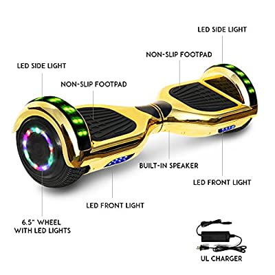 Otter Star Electric Chrome Hoverboard with Built-in Speaker and LED Lights self Balancing Scooter Dual Motors Hover Board UL2272 Certified (Gold)