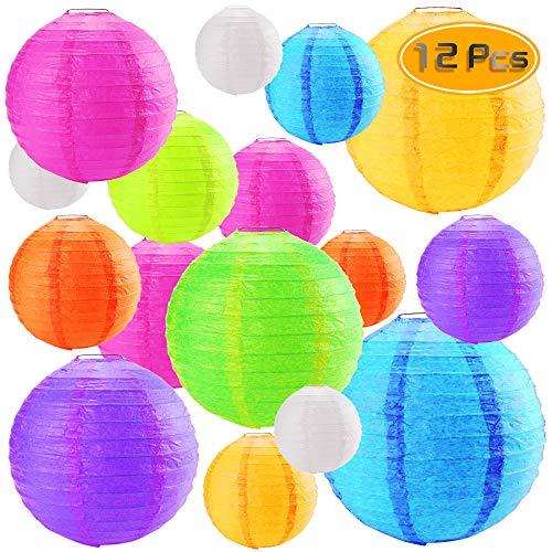 Heatoe 12 Pcs Colored Handmade Paper Lanterns (4,