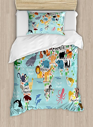 (Kids Duvet Cover Set by Ambesonne, Educational World Map Africa Camel America Lama Alligator Ocean Australia Koala Print, 2 Piece Bedding Set with 1 Pillow Sham, Twin / Twin XL Size)