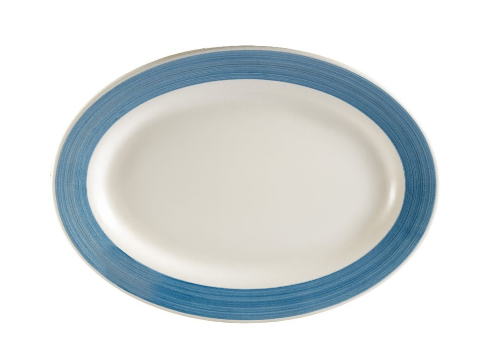 CAC China R-51-BLUE Rainbow Rolled Edge 15-1/2-Inch by 10-Inch Blue Stoneware Oval Platter, Box of 12