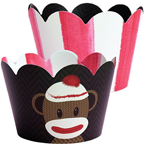Sock Monkey Theme Baby Shower Cupcake Wrapper Decorations, 1st Birthday Party Supplies for Boys, Vintage Red and White Stripe Favor Treat Holders, Decorative Paper Cup Cake - Party 1st Birthday Supplies Monkey Sock