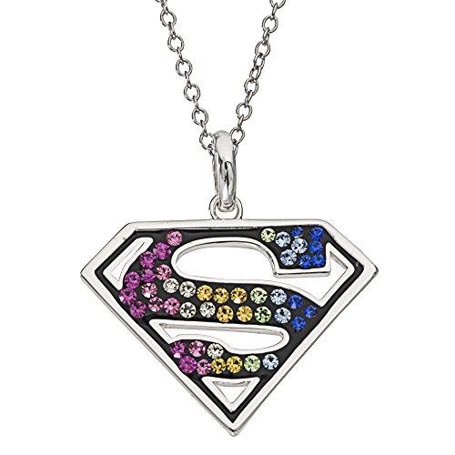 "DC Comics Superman Logo Silver Plated Brass Rainbow Swarovski Crystal Pendant for Women, 18"""