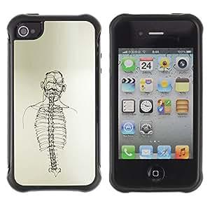 Be-Star único patrón Impacto Shock - Absorción y Anti-Arañazos Funda Carcasa Case Bumper Para Apple iPhone 4 / iPhone 4S ( Skeleton Spine Art Black White Pencil Drawing )