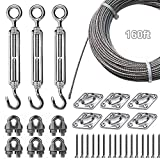 Newpow Outdoor String Lights Hanging Kit, Commercial Grade - Strong Wire Rope and Hardware, Well-Made 304 Stainless Steel Suspension Kit with Great Durability and Rust Resistance - Easy to Install