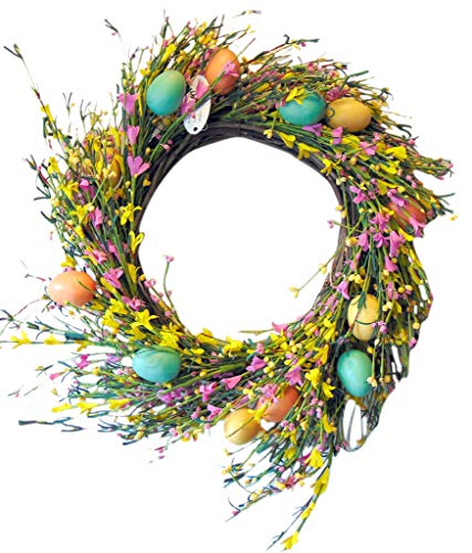 Easter Egg Wreath with Artificial Spring Flowers Pastel Door Wreath Decorative Twig Wreath Floral Home Decoration, 20 Inch ()