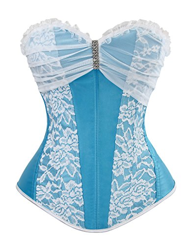 Charmian Women's Satin Bridal Lace Boned Overbust Wedding Dress Corset Bustier Blue/White Small