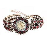 Navion Women's Luxury Sunflower Vintage Bangle Rhinestone Bracelet Watch Red