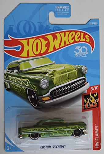 HOT Wheels 1:64 Scale DIE CAST Flames 8/10, Green Custom '53 Chevy 350/365 50TH Anniversary Card