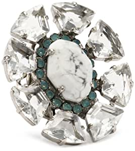 "Sorrelli ""Aegean Sea"" White Howlite with Crystal on an Adjustable Filigree Ring"