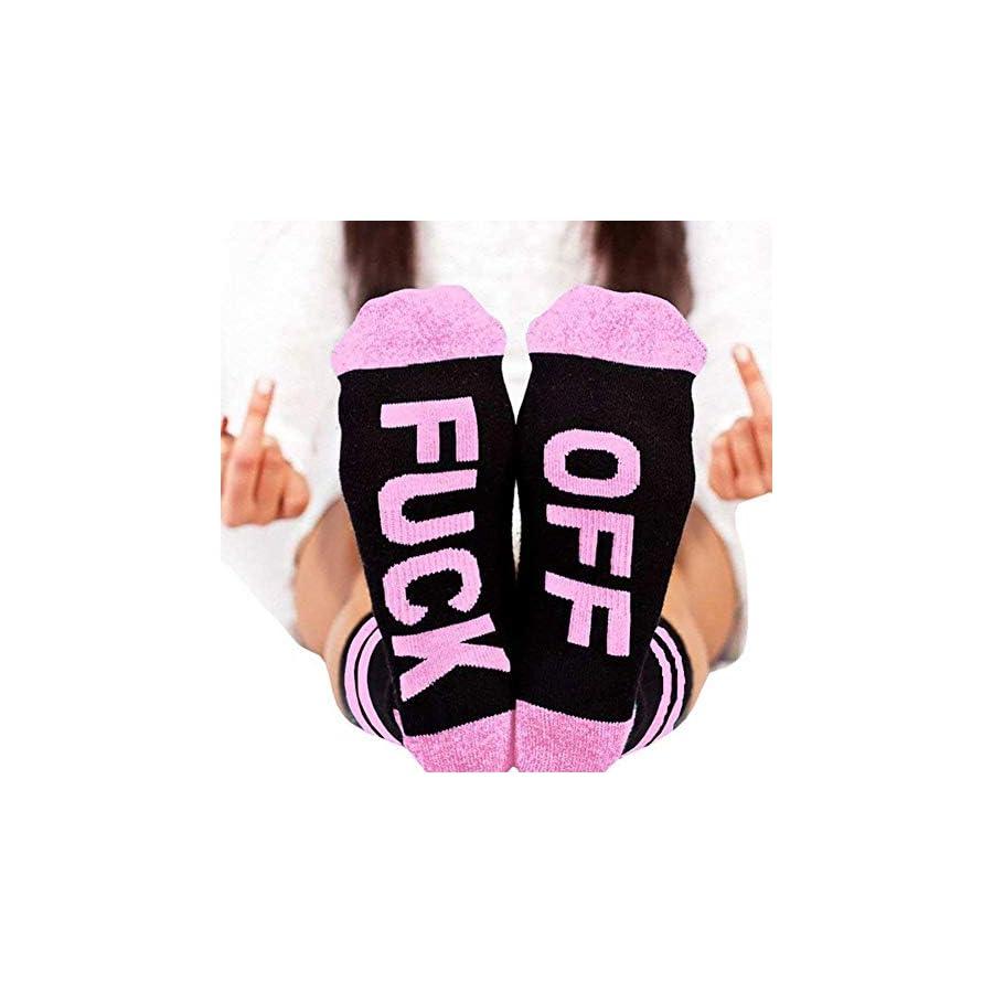 Fenta Socks Letter Print Fuck Off Pattern Casual Funny Sock Men Women Unisex by