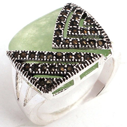 Sterling Silver Marcasite Natural (Fashion 925 Sterling Silver Natural Green Jade Gems Marcasite Ring Size 10)