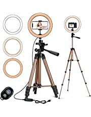 """PEYOU 10"""" Selfie Ring Light with 50'' Extendable Tripod Stand & Phone Holder, LED Ring Light for Live Stream, Makeup, Vlog/YouTube Video, Photography, Ringlight for iPhone and Android Devices"""