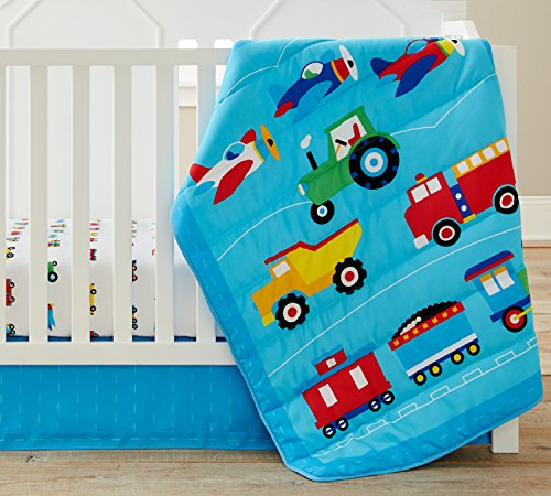 Wildkin 3 Pc Bedding, Crib, Trains Planes & Trucks