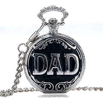 Reloj de bolsillo de cuarzo con diseño de papá con llavero ...