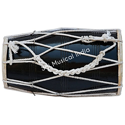 Dholak Drum by Queen Brass, Black, Mango Wood, Rope-tuned, Padded Bag, Spanner, Dholki Musical Instrument (PDI-CJB) ()