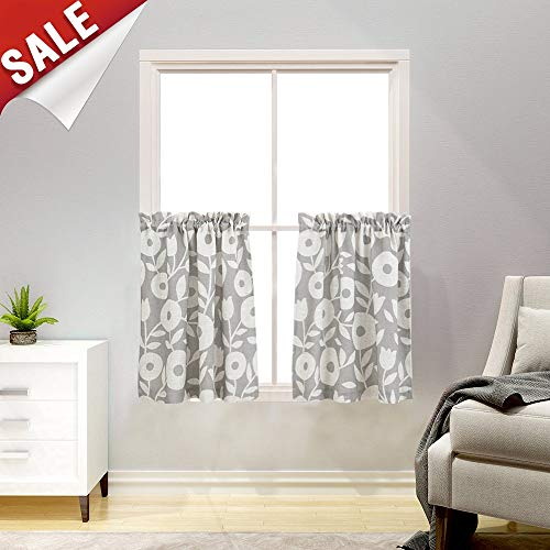 Floral Printed Tiers Kitchen Curtains, Linen Look Short Curtains for Bathroom Rod Pocket Rustic Window Treatments (2 Panels,36-Inch, Grey and ()