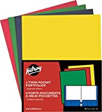 Hilroy 06042 Twin Pocket Portfolios, 11-3/4x9-1/2-Inch, 4/Pack, Assorted Colors
