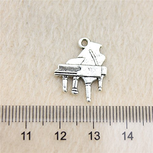 NEWME 50pcs piano Charms Pendant For DIY Jewelry Wholesale Crafting Bracelet and Necklace Making (antique silver)