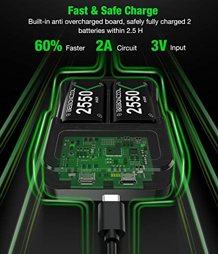 Controller Battery Pack for Xbox One/Xbox Series X|S, BEBONCOOL 2x2550 mAh Rechargeable Battery Pack for Xbox Series X|S/Xbox One/Xbox One S/Xbox One X/Xbox One Elite Controller-Green