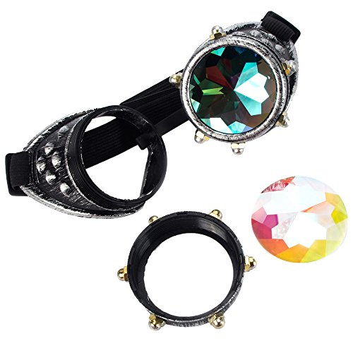 Cyberpunk Costumes (Vintage Steampunk Goggles Glasses Welding Cyber Punk Gothic Kaleidoscope Cosplay Accessories)