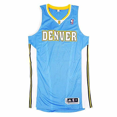 adidas Denver Nuggets NBA Light Blue Official Authentic On-Court Revolution 30 Away Road Jersey for Men (XLT) ()