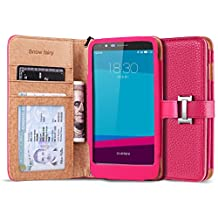 LG G4 Cases, [Snow Fairy] G4 Flip Cover Case [Premium Synthetic Leather Wristlet Series][Card Holder] [Wallet] - [Leather Fit]Wrist Strap PU Leather Case for LG G4 - Special ID Slot Design (SG-S6-PUL-C-001) G4 Case ECO Package Hot Pink
