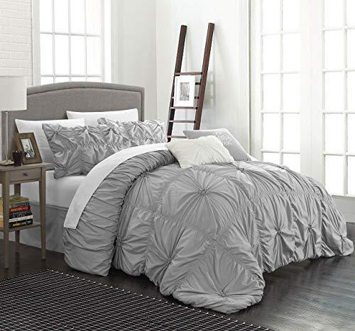 Chic Home CS1442-AN Halpert Floral Pinch Pleat Ruffled Designer Embellished Queen Comforter Set, 6-Piece, Silver (Comforter Tan Ruffle)