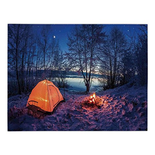 Polyester Rectangular Tablecloth,Apartment Decor,Dark Night Camping Tent Photo in Winter on Snow Covered Lands by the Lake,Blue Orange,Dining Room Kitchen Picnic Table Cloth Cover,for Outdoor Indoor