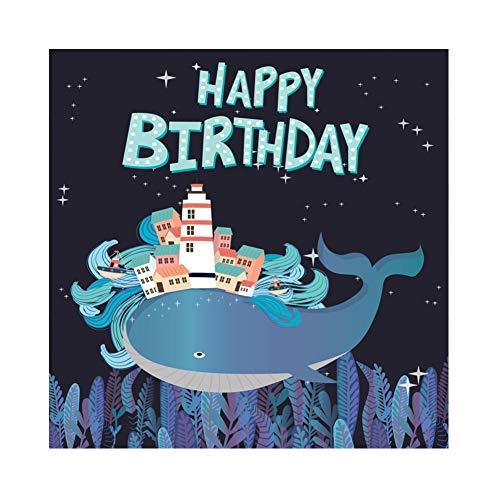 Leowefowa 6x6ft Baby Whale Happy Birthday Photography Backdrop Cartoon Coastal City Underwater World Starry Night Sky Vinyl Backgroud Marine Boy Birthday Decoration Summer Party Photobooth ()