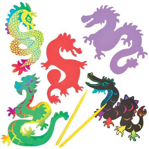 Baker Ross Aimants Dragons Chinois à Gratter que les Enfants pourront Confectionner (Lot de 10)