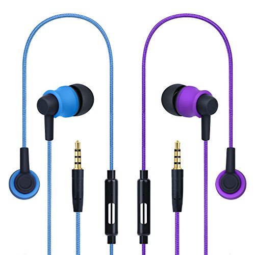 In Ear Headphones, Costyle 2 Pack Pure Nylon Braided In-ear Noise Isolating Earphones Headphones with Mic Remote Control Button for iPhone SE 6s, iPad Air Mini, Samsung Galaxy S8 S7 edge(Blue, Purple)