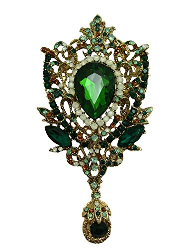 Green Womens Brooch - TTjewelry Fashion Gold-Tone Crown Flower Green Crystal Brooch Pendant