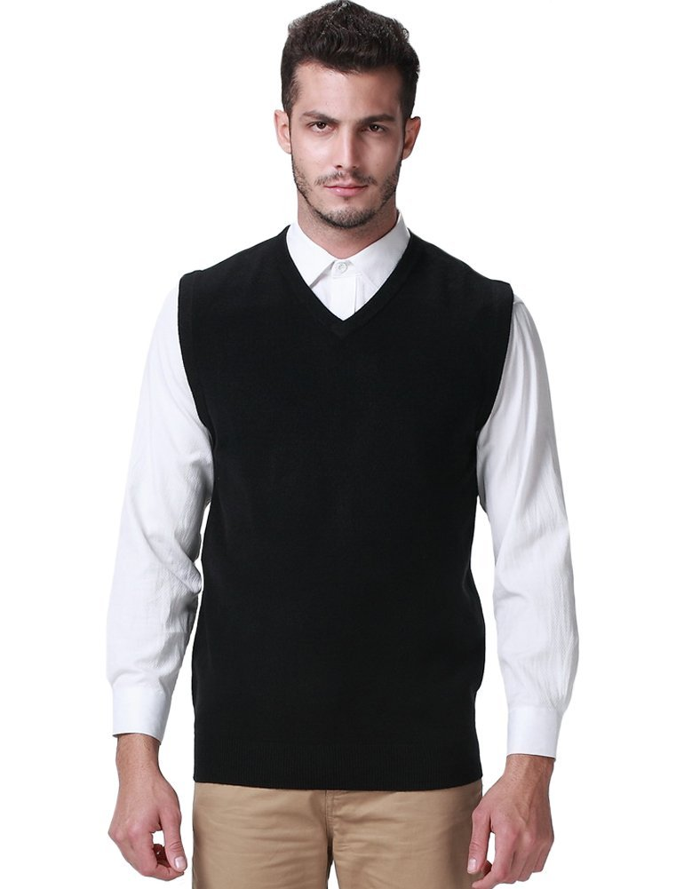 SSLR Men's Solid Color Regular Fit V Neck Pullover Casual Sweater Vest (Large, Black) by SSLR