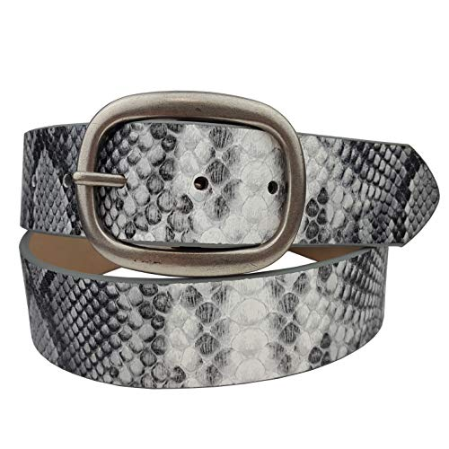 Vegan Plain Belt with Matte Oval Buckle (M, Python Gray) (Grey Python Leather)