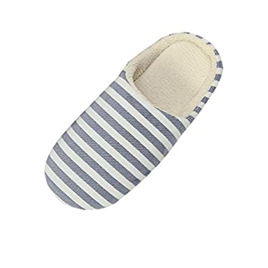 c81f434b91c9 Anti-Slip Indoor Shoes LILICAT Women Men Warm Striped Slipper Indoors  Anti-slip Winter House Shoes Comfort Memory Foam Slip-on House Slippers   Amazon.co.uk  ...