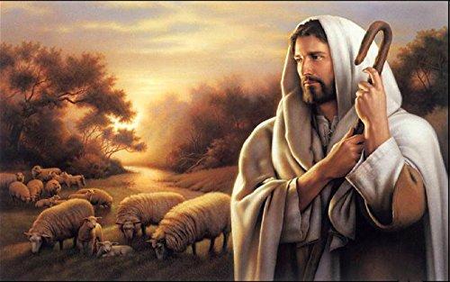 Gatsbe Exchange Oil Painting On Canvas Jesus Christ The Good Shepherd 11 X 17 Unframed - Jesus Good Shepherd