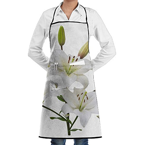 Lilies 5 Stems (ZhiqianDF Asiatic Lily Plant With Five Flowers And Two Buds Stem And Leaves Isolated On White Canvas Restaurant Black One Size Apron With Pockets Adjustable)