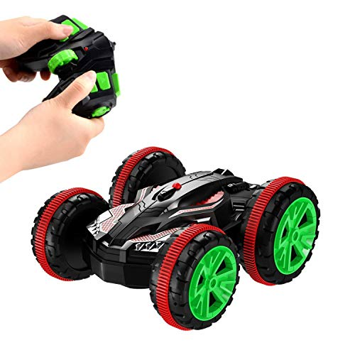 Tank Car Remote Control Toy - SZJJX RC Car Remote Control Boat 2.4Ghz 4WD Double Sided Stunt Car Tank Vehicle 360 Degree Spins and Flips Land/Water