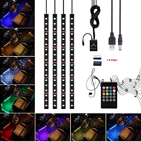 Car LED Strip Lights,Unpopular 4pcs 72 LED DC5V Waterproof USB Car Interior Music Multicolor LED Under Dash Lighting Kit with Sound Active Function,Wireless Remote Control (4x18LEDs With USB Port)
