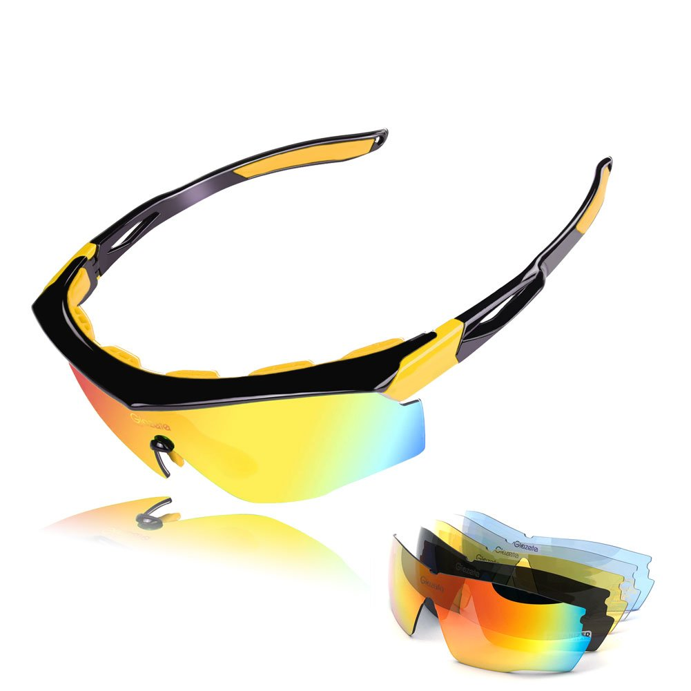 Glazata Polarized Sports Sunglasses with 5 Interchangeable Lenses for Men Women Tr90 Unbreakable Sunglasses for Cycling Running Driving Fishing Golf Baseball Glasses X513 (BLACK&YELLOW, Multi-Color)