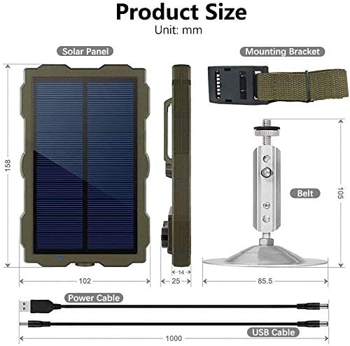 1500mAh Banco de Energ/ía Solar Cargador con Port/átil Kit de instalaci/ón e Cable de Carga USB Braveking1 Panel Solar para C/ámara de Caza Trail Game Camera IP56 Impermeable DC 6V