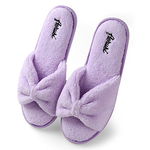 Aerusi Da Donna In Felpa In Pile Open Toe Memory Foam Bow Spa Slip On Slippers Camera Da Letto Indoor House Shoes Lilla