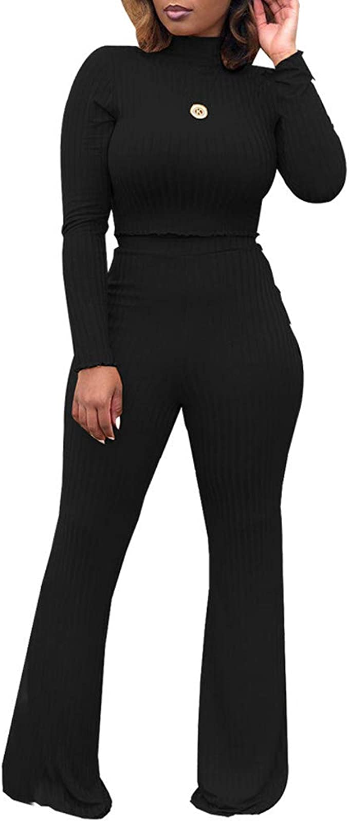 Gocgt Womens Solid 2 Piece Long Sleeve Ribe Corp Top and Bell Pant Set