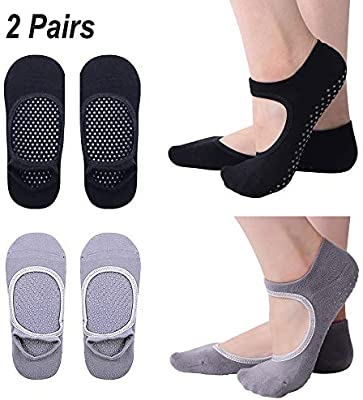 Hibbent 2 Pairs Women Yoga Socks Non-Slip Grips Pilates Dance Barre Fitness Anti-Skid Dance Barre Socks Full Toe Ankle Fall Prevention Grip Socks by ...