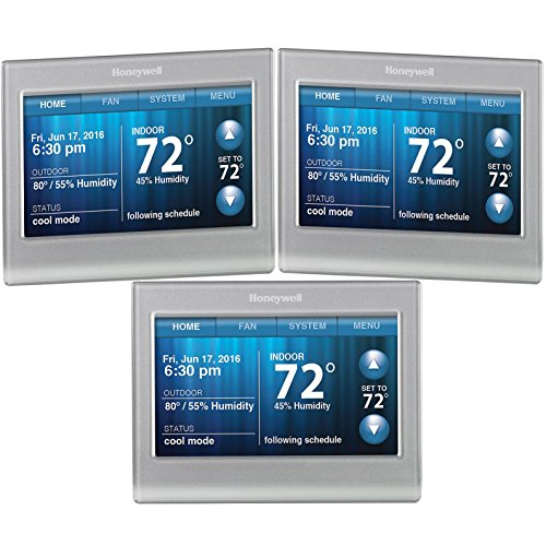 Honeywell 3-Pack RTH9580WF Wi-Fi 7-Day Programmable 9000 Touchscreen Smart Thermostat (Silver)