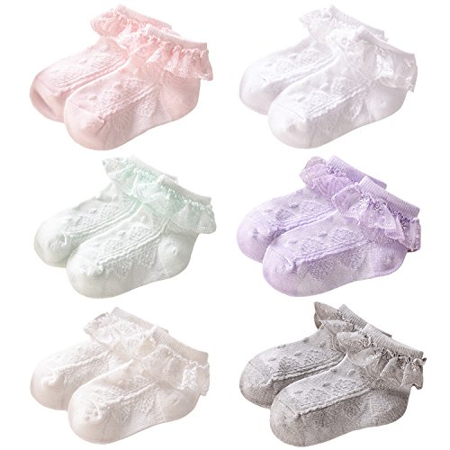 Elesa Miracle Baby Girl Eyelet Lace Socks Little Girl Frilly Princess Lace Ruffles Socks Value Set (6 pairs- Pink, White, Off White, Mint, Lavender, Gray, 4-6T)]()