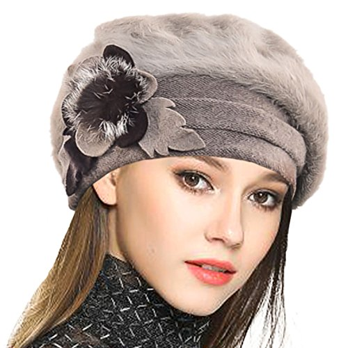 VECRY Lady French Beret 100% Wool Beret Floral Dress Beanie Winter Hat (Angola-Khaki)
