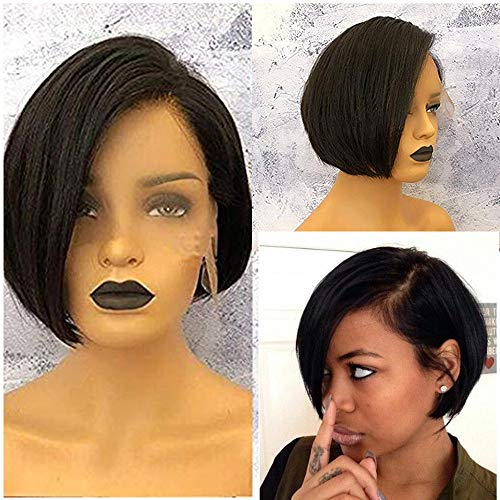 Short Pixie Cut Bob Human Hair Lace Front WigsPre Plucked With Baby Hair Side Bangs Brazilian Glueless Wigs 13x6 Short Haircuts Lace Wig For Black Women(8inch) (Best Hairstyles For Black Women Over 50)