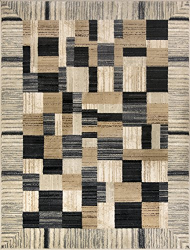 ADGO Atlantic Collection Modern Abstract Geometric Rectangular Patchwork Soft Pile Contemporary Carpet Thick Plush Stain Fade Resistant Easy Clean Bedroom Living Room Area Rug, Tan Grey, 5' x 7'